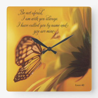 Be Not Afraid Religious Butterfly on Daisy Wallclock