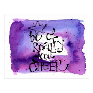 'Be of Really Good Cheer' hand painted & lettered Postcard