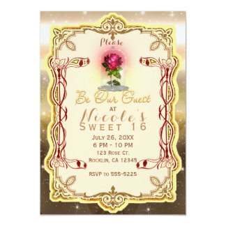 Be our Guest Red Enchanted Magical Red Rose Party Card