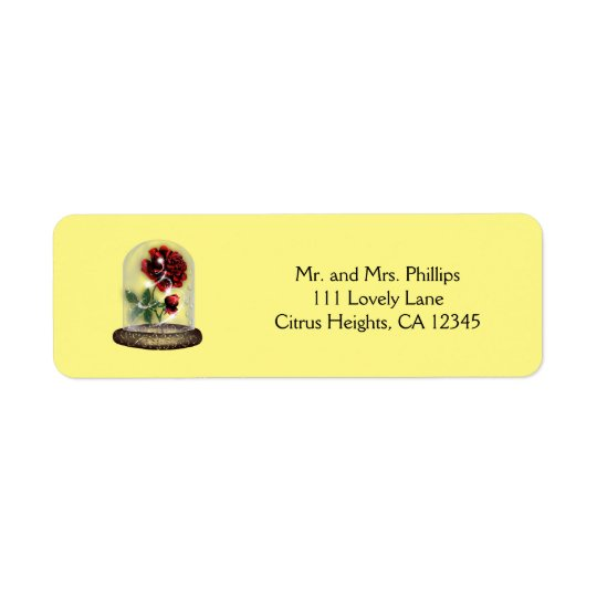 Be Our Guest Red Rose in Glass Elegant Return Address Label