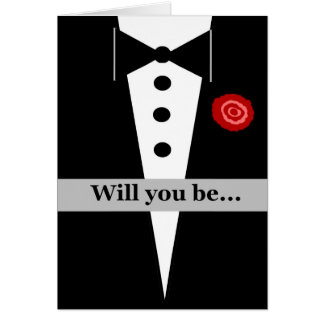 Be Our Usher Card with Tux and Rose