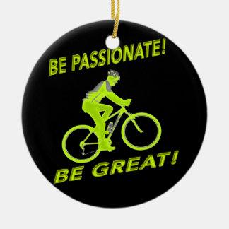 Be Passionate! Be Great! Mountain Biker Green Ceramic Ornament