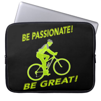 Be Passionate! Be Great! Mountain Biker Green Laptop Sleeve