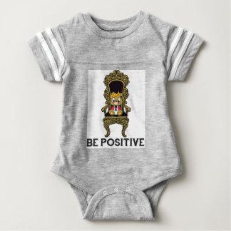 Be Positive Teddy Gray Cotton Baby Bodysuit