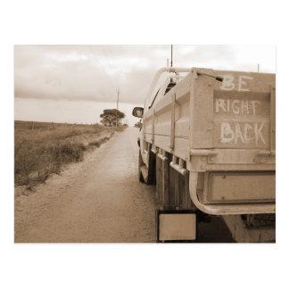Be right back nature landscape dirt road sky ute postcard