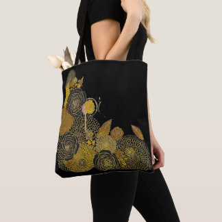 Be Still and Know Black and Gold Tote Bag