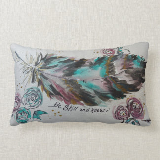 """be still and know"" feather pillow"