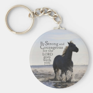 Be Strong and Courageous Bible Verse Deut 31 Horse Key Ring