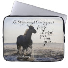 Be Strong and Courageous Bible Verse Deut 31 Horse Laptop Sleeve