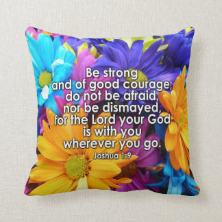 Be Strong Bible Scripture Cushion
