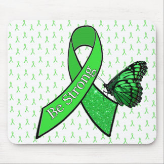 """""""Be Strong"""" Butterfly Lyme Awareness Ribbon Mouse Pad"""