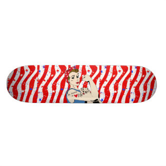"""Be Strong in Life"" Patriotic Women inspirational Skate Board"
