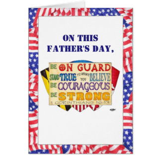Be Strong Shield Custom Father's Day Card