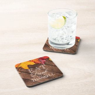 Be Thankful Rustic Wood Autumn Maple Leaves Drink Coaster