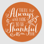 Be Thankful Script Orange Thanksgiving Sticker