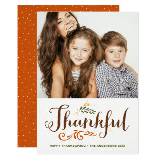 Be Thankful Whimsical Photo Happy Thanksgiving II Card