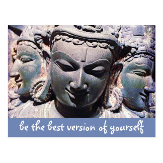 """""""Be the best version"""" stone faces photo postcard"""