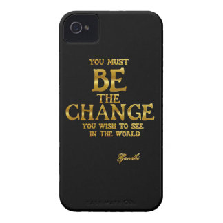Be The Change - Gandhi Inspirational Action Quote iPhone 4 Covers
