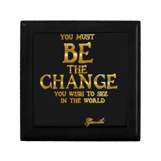 Be The Change - Gandhi Inspirational Action Quote Small Square Gift Box
