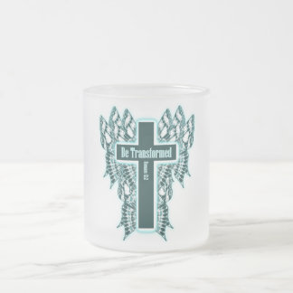 Be Transformed – Romans 12:2 Frosted Glass Coffee Mug