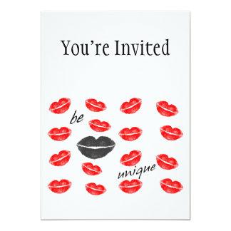 Be Unique Red & Black Kisses 5x7 Paper Invitation Card