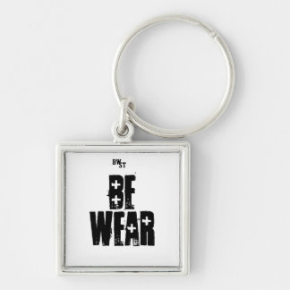 BE WEAR Silver-Colored SQUARE KEY RING