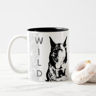 BE WILD AND FREE White Mug with German Shepherd