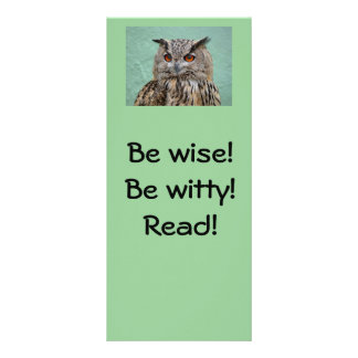 Be wise! Be witty! Read! Bookmark Rack Card