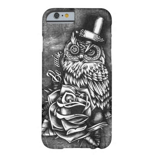 Be wise tattoo style owl artwork barely there iphone 6 for Tattoo artist iphone cases