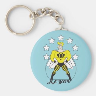 Be You (Bee You)-White stars. Basic Round Button Key Ring