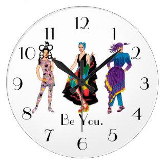 Be You. Fashion Design Fashionista Diva Large Clock