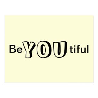 Be You tiful Beautiful Yellow Fun Postcard