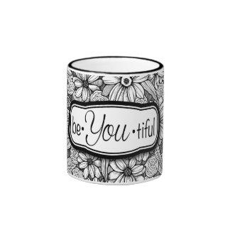 be•You•tiful Black & White Floral (11 oz. mug) Ringer Mug