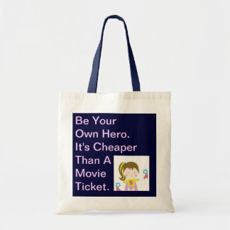 Be your own hero tote bags