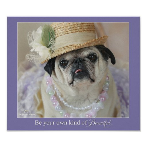 Be Your Own Kind of Beautiful Pug Poster
