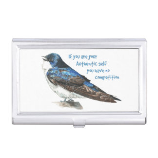 Be Yourself Inspirational Quote Barn Swallow Bird Business Card Holder