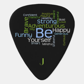 BE Yourself  Inspirational Word Cloud Guitar Pick
