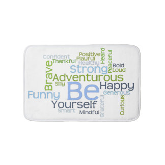 BE Yourself Motivational Word Cloud Template Bath Mat