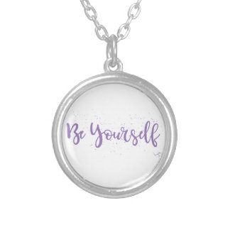 Be-Yourself-Typography-Purple Silver Plated Necklace