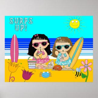 Beach 2 Girls Surfers Poster