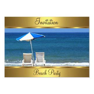 Beach  50th Birthday Party 13 Cm X 18 Cm Invitation Card