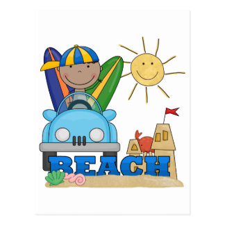 BEACH African American Boy Tshirts and Gifts Postcard