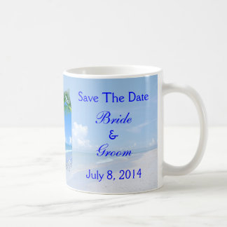 Beach And Blue Skies Wedding Save The Date Basic White Mug