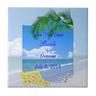 Beach And Blue Skies Wedding Save The Date Tile
