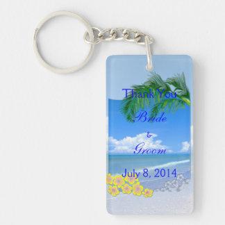 Beach And Blue Skies Wedding Thank You Double-Sided Rectangular Acrylic Key Ring