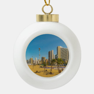 Beach and Buildings of Fortaleza Brazil Ceramic Ball Christmas Ornament