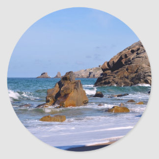 Beach and cliff at Quiberon peninsula in France Classic Round Sticker