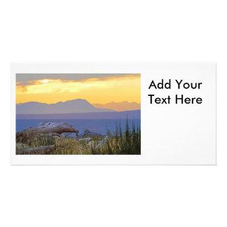 Beach and Mountain Sunrise Photo Greeting Card