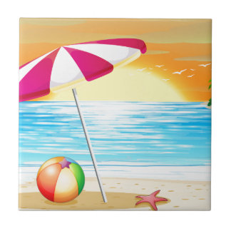 Beach and ocean ceramic tile