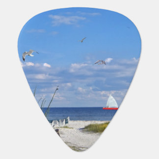 Beach and Ocean View with Sailboat Guitar Pick